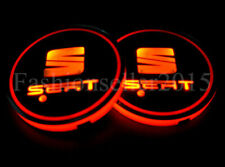 2pcs for SEAT LED Car Cup Holder Pad Mat Interior Atmosphere Lights LEON IBIZA