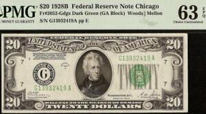 UNC 1928B $20 DOLLAR BILL DARK GREEN SEAL FED RES NOTE GOLD ON DEMAND PMG 63 EPQ