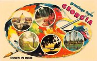 GREETINGS FROM GEORGIA~DOWN IN DIXIE~PAINTERS PALETTE W/ PHOTOS POSTCARD 1960s