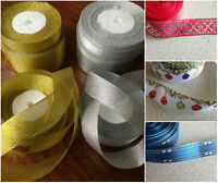 3,15,25,50 mm Sparkly Ribbon Silver Gold Copper Christmas Glitter 1 m