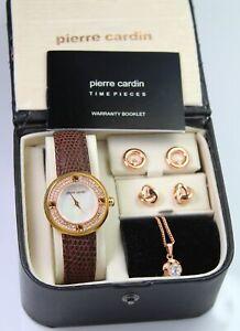 Pierre Cardin Women's Gift Set Necklace & Earrings Quartz Watch