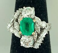 Certified Colombian 1.05 CT EMERALD+FINE DIAMONDS~Platinum~Hand Made RING~$7,600