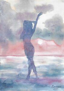 original painting A4 144PK art samovar modern watercolor landscape woman at sea