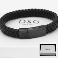 "DG Men's Stainless-Steel 8.5"" Black Braided Leather Magnetic Bracelet Unisex*BOX"