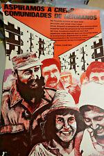 Poster: Fidel Castro: Aspiramos a Crear Comunidades de Hermanos Original vintage