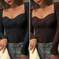 UK Womens Plunge V Neck T Shirt Tee Ladies Long Sleeve Slim Pullover Tops Blouse