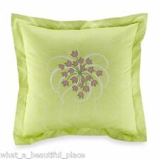 1 Amy Butler Modena Euro Sham Green Pink White Floral Embroidery Shabby Chic