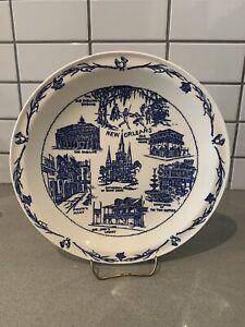 Vintage Souvenir Plate Vernon Kilns New Orleans  Hausmann's Jewelers Mid Century