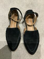 Next Black Suede Flat Ankle Strap Shoes Size 38 1/2