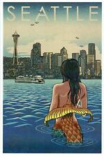 Mermaid, Seattle Washington, Space Needle, Downtown, Ferry etc - Modern Postcard