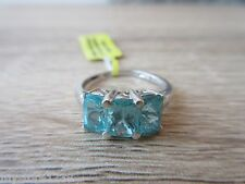 Madagascar Paraiba Apatite 3 Stone Ring Platinum Over Sterling Size 5,6,7,9 Opt