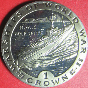 1993 GIBRALTAR 1 CROWN PROOF-LIKE HMS WARSPITE BRITISH NAVY WWII SHIP no silver