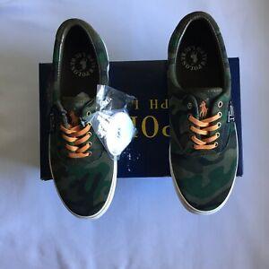 Polo Ralph Lauren Thorton III Men's Suede Shoes Olive Camo Sneakers Size 10.5D