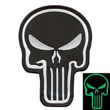 "large XXL 7""x10"" punisher skull glow in the dark embroidered sew iron on patch"