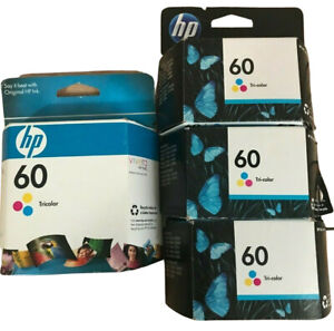 HP 60 Tri Color Ink Cartridges Lot Of 4 Expired 2010 2011 2012 CC643WN New OEM