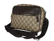 GUCCI GG Web PVC Canvas Leather Browns Crossbody Shoulder Bag GS2534