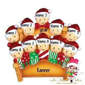 Pajama Bed Family of 10 Personalized Christmas Ornament Friends coworkers custom