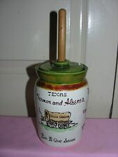 Vintage Pottery BAR-B-QUE SAUCE Crock Jar With Lid Green and Stick