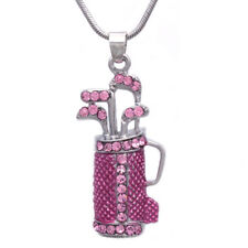 Pink Golf Club Set Bag Sporting Goods Necklace Sports Jewelry Gift for Golfer