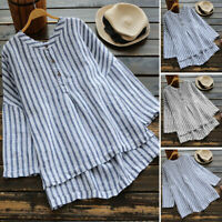 ZANEZEA Womens Autumn Long Sleeve Striped Blouse Ladies Casual Loose Tops Shirt