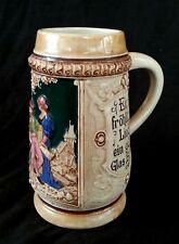 Antique German ceramic beer stein bierkrug Musketeer 1/2 L.
