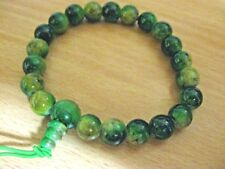 Bracelet -Green Unakite Bead Bracelet - Elasticised