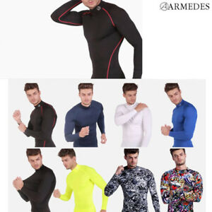 ARMEDES Mens Skin Tight Compression Baselayer Activewear Long Sleeve Shirt R151