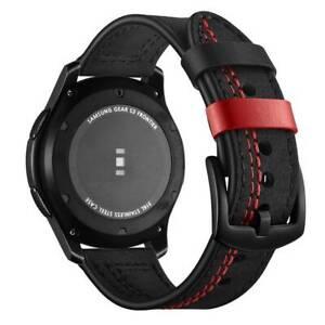 Uhrenarmband 22mm Samsung Galaxy Gear S3 Watch Leder Armband 46mm Garmin Schwarz