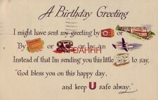 """1950 - A BIRTHDAY GREETING """"GOD BLESS YOU ON THIS HAPPY DAY, KEEP U SAFE ALWAY"""""""