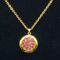 "Avon N.R GoldTone Locket w/Pink Rhinestone Flower on 18"" Chain Necklace"
