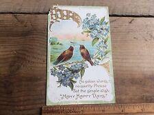 Vintage Antique Post Card , Anniversaries , Embossed, Two Birds, German