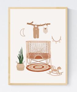 Boho Kids Nursery Room Print,  Abstract Kids Room Print, Nursery Wall Art