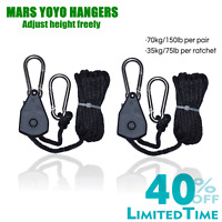 2PCS 1/8 Rope Ratchet YOYO Hanger for LED Grow Light Tent Room Fan Carbon Filter