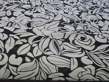 BURNOUT FLORAL TWILL JACQUARD-IVORY/BLACK-DRESS FABRIC-2.3 METRES