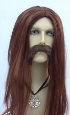 UK BROWN MEN/'S LONG STRAIGHT MIDDLE PARTING FANCY DRESS WIG COWBOY PIRATE