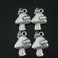 30 pcs Antiqued Silver Alloy Mushroom Pendants Charms Jewelry Making Crafts