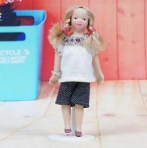 1:12 Dollhouse Miniature Doll Standing Porcelain Doll Girl White Shirt & Short