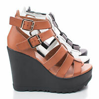 Charge01 Open Toe Caged Buckle Platform Wedge Sandal