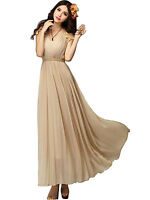 UK Bridesmaid Lady Long Party Cocktail Evening Chiffon Lace Vintage Maxi Dress