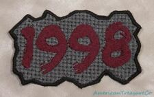 Embroidered Retro Vintage 90s Burgundy & Gray Grunge 1998 Year Patch Iron On USA