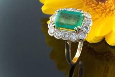 Schmuck  Ring mit wunderschönem Smaragd & Brillanten in 750er Gold Gelbgold 58