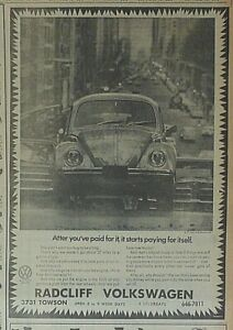 1969 newspaper ad for Volkswagen - starts paying for itself, VW Beetle
