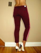 Hudson $187 Loulou Dark Red Hot Pink Tuxedo Stripe Skinny Low Rise Crop Jeans 28