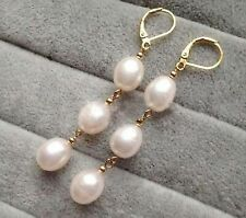 Elegant Women's Fashion White Akoya Pearl 14k Gold Leverback Dangle Earrings
