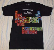 MARVEL COMICS MENS T-SHIRT THE PERIODIC TABLE OF SUPERHEROES LARGE AVENGERS BOLT