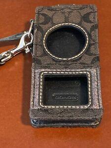 COACH Signature Black Leather & Canvas Metallic iPod Nano Case