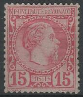 "MONACO STAMP TIMBRE N° 5 "" PRINCE CHARLES III 15c ROSE 1885 "" NEUF xx TTB  K659"