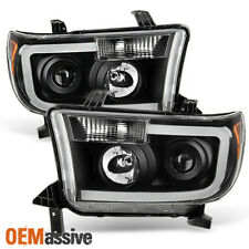 Fits 2007-2013 Toyota Tundra 08-17 Sequoia Black LED Tube Projector Headlights