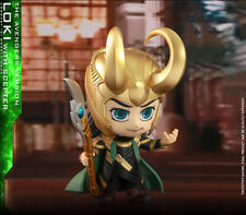 Genuine Hot Toys Cosbaby toy figure avengers 4 bobblehead Loki with scepter