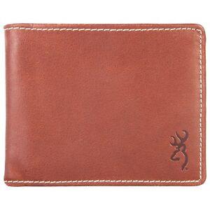 Browning Genuine Leather Bi-fold Billfold Wallet -  Buckmark Logo Cognac